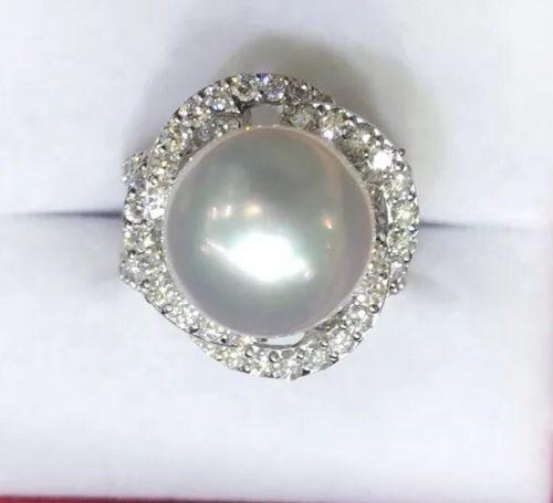 Gorgeous 18kt Gold, South Sea Pearl, & Diamond Ring