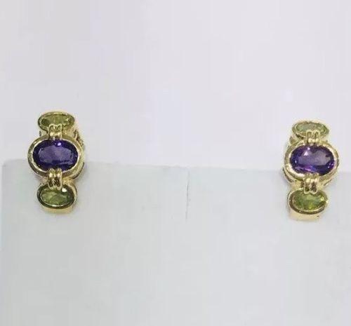 14kt Gold Peridot & Amethyst Earrings