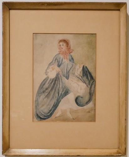 Vintage Watercolor on paper of a Dancer