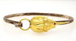 Amazing Horseshoe Crab Bangle Bracelet in Sterling & Gold