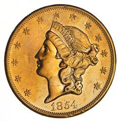 1854-S $20.00 Liberty Head Gold Double Eagle - Rare - Sharp