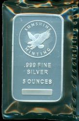 Cameo Prooflike Sunshine Mining pure 5 oz. silver bar