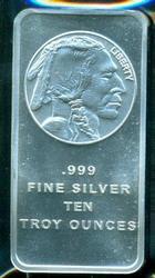 Great Buffalo 10 Troy Oz pure .999 Silver Bar.