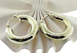 Wide Hoop Earrings in Sterling Silver