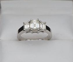 14kt Gold Emerald Cut Diamond Engagement Ring