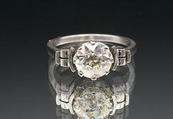 Platinum Engagement Ring w/ Large Diamond Solitaire