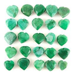 Group Lot of 25 Heart Cut Natural Emeralds- 500+Carats