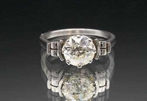 Platinum Engagement Ring w/ Large Diamond Solitaire
