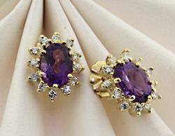 Beautiful Amethyst Stud Earrings with Diamond Halos
