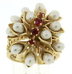 14KT Yellow Gold Retro Pearl & Ruby Ring
