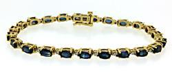 14KT Yellow Gold Sapphire & Diamond Bracelet