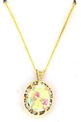Iridescent 14kt Opal and Diamond Pendant