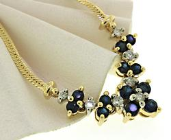 Polished 14kt Sapphire & Diamond Necklace