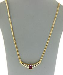 Classy 14kt Ruby and Diamond Necklace