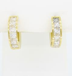 18K Yellow Gold 1.50CTW Diamond Hoop Earrings