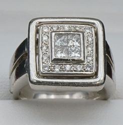 Platinum Princess & Round Diamond Square Ring