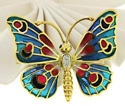 Vibrant 14kt Butterfly Brooch