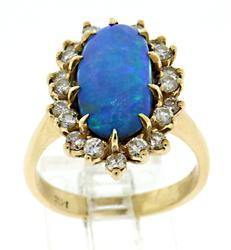Iridescent 14kt Opal and Diamond Halo Ring