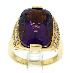 Elegant Amethyst and Diamond Ring in 18kt