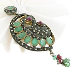 Sterling Silver Natural Gemstones Pendant