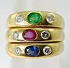 Trio of 18K Emerald, Ruby, & Sapphire Rings