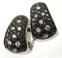 Elegant Black & White Diamond 18K Huggies