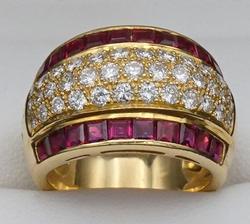18kt Yellow Gold Ruby & Diamond Band