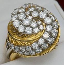 Massive 18kt Gold Diamond Swirl Cocktail Ring