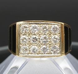 Men's 14kt Yellow Gold Diamond & Onyx Ring