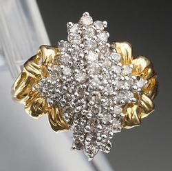 14kt Gold Diamond Cluster Cocktail Ring