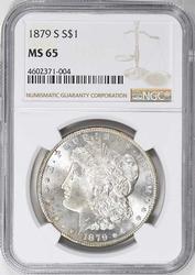 Gem MS65 1879-S Morgan Dollar, NGC