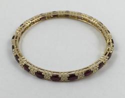 14kt Gold Ruby & Diamond Bangle Bracelet