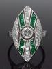 Platinum Navette Emerald and Diamond Ring