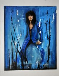 Steven Tyler Signed 22x28 Canvas Custom Blue Splatter P