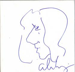 Alice Cooper Autographed Sketched 12x12 Stretched Canva