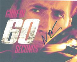 Nicolas Cage Autographed Gone In 60 Seconds 8x10 Photo