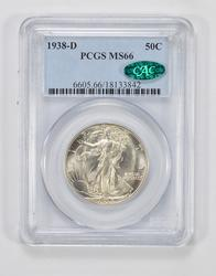 MS66 1938-D CAC Walking Liberty Half Dollar - PCGS Graded