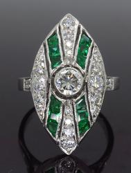 Platinum Navette Emerald and Diamond Ring