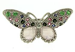 Multi Gemstone Butterfly Ring