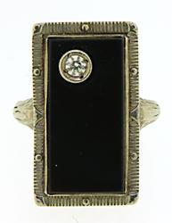Vintage Black Onyx and Diamond Ring