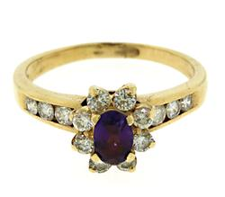 Amethyst and Diamond 14kt Ladies Ring