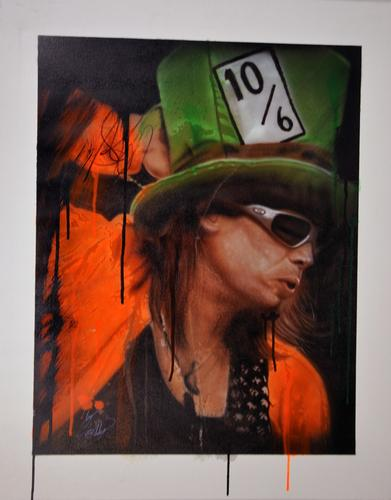 Steven Tyler Signed 24x30 Canvas Custom 10/6 Tophat Pai