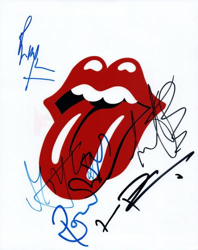 Rolling Stones Rare Autographed Signed Tongue 8x10 Phot