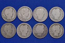 8 Pre 1900 Barber Quarters Full rim plus