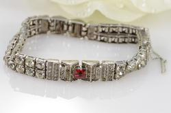 Rhinestone & Red Stone Hinged Link Missing Some Stones Bracelet Silver