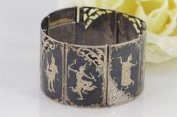 Broad Link Thai/Siam/Niello Dancer Link Bracelet Silver