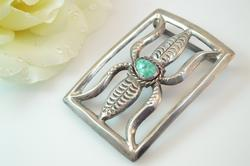 Bezel Set Rope Trimmed Turquoise Southwestern Style Belt Buckle Silver