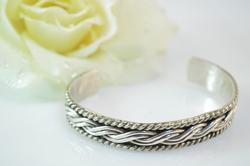 Braided Rope Cuff Bracelet Silver