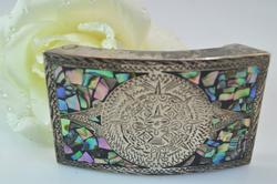 Taxco Abalone Inlay Mayan Calendar Belt Buckle Silver