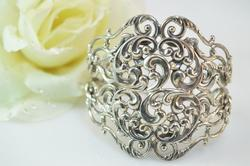 Ornate Scroll Filigree Cuff With Safety Chain Bracelet Silver